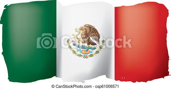 mexican lobogó, ábra, háttér., vektor, fehér - csp61006571