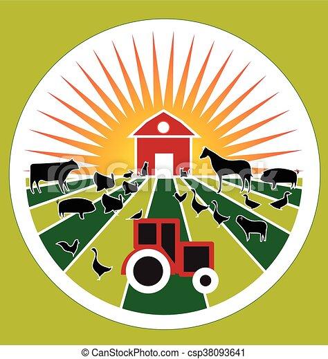 mezőgazdaság, címke, tanya, jel - csp38093641