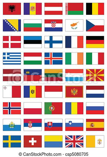 minden, állhatatos, lobogó, countries., európai - csp5080705