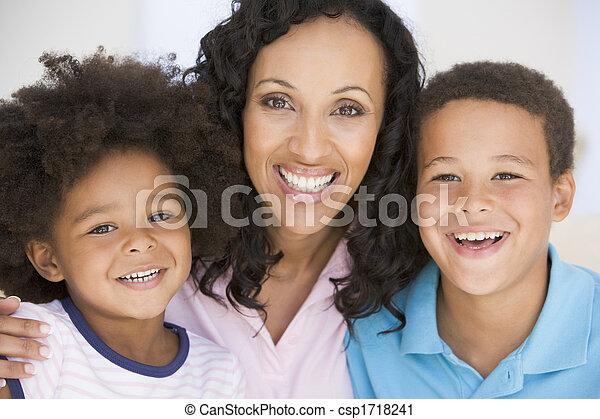 mosolyog woman, gyerekek, két, fiatal - csp1718241