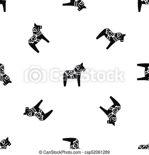 motívum, ló, játékszer, fekete, seamless - csp52061289