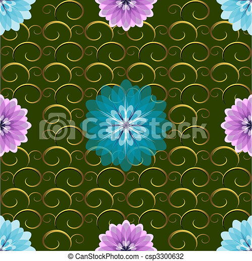 motívum, seamless, zöld, virágos - csp3300632