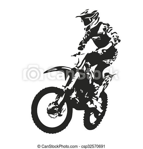 motokrossz, árnykép, vektor, rider. - csp32570691