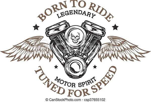 motorkerékpár, gép, wings. - csp37655102