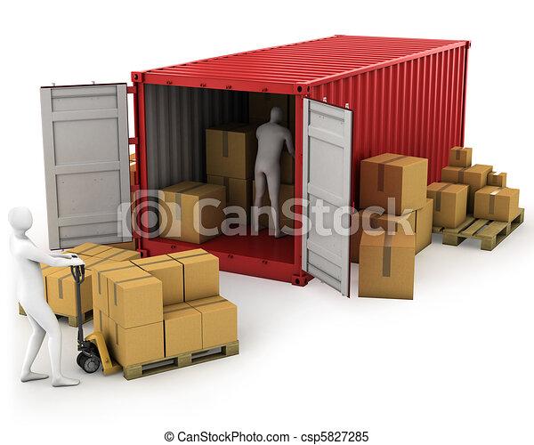 munkás, konténer, két, kirakodik - csp5827285