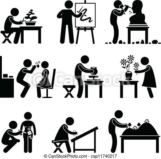 munka, munka, művészet, művészi, foglalkozás - csp11740217