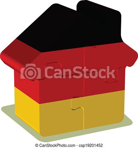 német, épület, rejtvény, lobogó - csp19201452