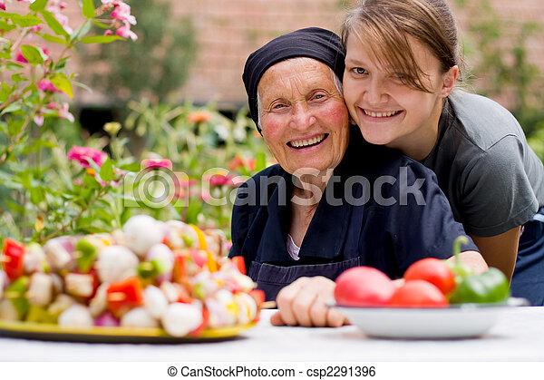 nő, öregedő, látogató - csp2291396
