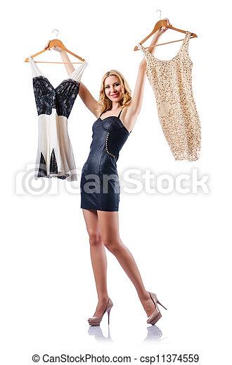 nő, bájos, új, fehér, fárasztó, öltözet - csp11374559