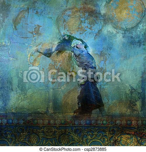 nő, dune., színes, homok, hold, stars., fújás, alapozott, felemelt, illustration., ruha, fénykép - csp2873885