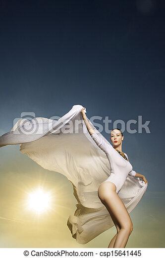 nő, fehér, tánc, gyönyörű - csp15641445
