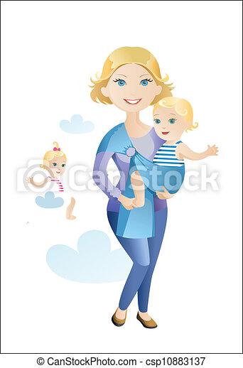 nő, gyermek - csp10883137