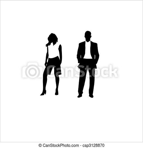 nő, illeszt, ember, vektor, háttér., fehér - csp3128870