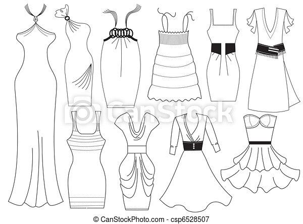 nő, mód, white., vektor, ruha, öltözék - csp6528507