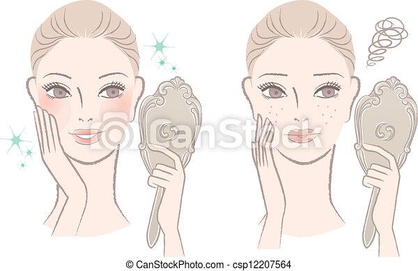 nő, maga, tükör, látszó - csp12207564