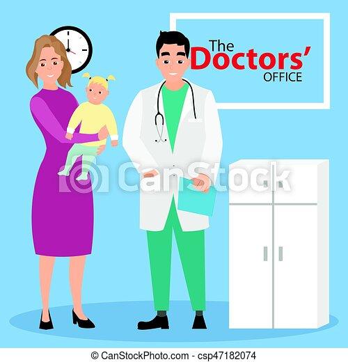 nő, pediatrician., orvosi, kézbesít, fogadás, gyermek, examination. - csp47182074