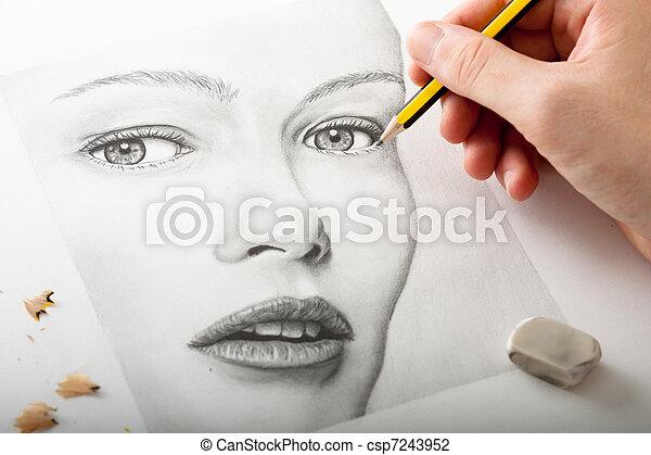 nő, rajz, kéz, arc - csp7243952