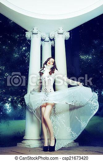 nő, ruha, tánc, fehér - csp21673420