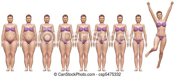 nő, súly, siker, egészséges, diéta, kövér, után, előbb - csp5475332