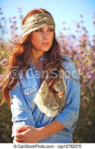 nő, summertime idő, mező, gyönyörű - csp10782070