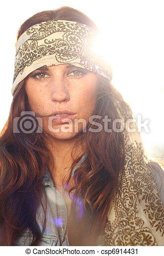 nő, summertime idő, mező, gyönyörű - csp6914431