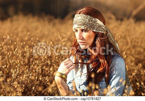 nő, summertime idő, mező, gyönyörű - csp10781827
