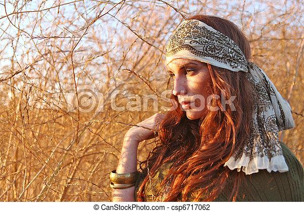 nő, summertime idő, mező, gyönyörű - csp6717062