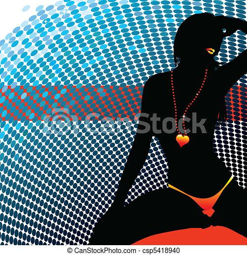 nő, szexi, árnykép, elvont - csp5418940