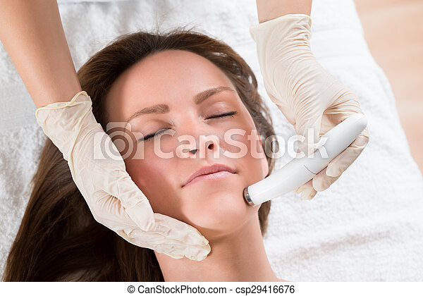 nő, terápia, felfogó, microdermabrasion - csp29416676