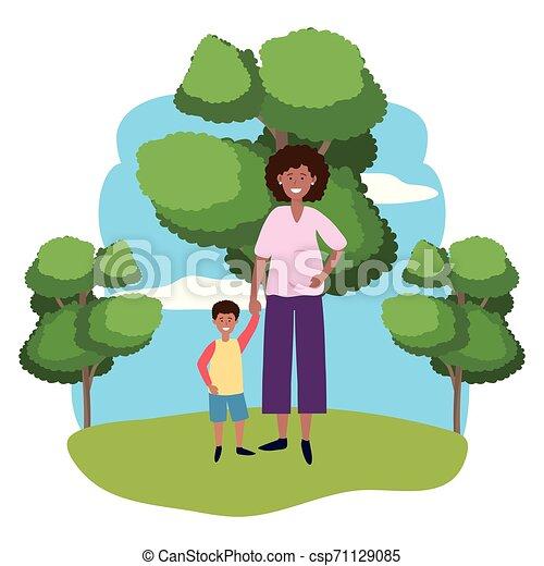 nő, terhes, gyermek - csp71129085