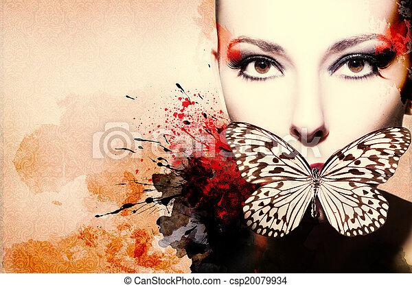 nő, tinta, artwork, gyönyörű - csp20079934