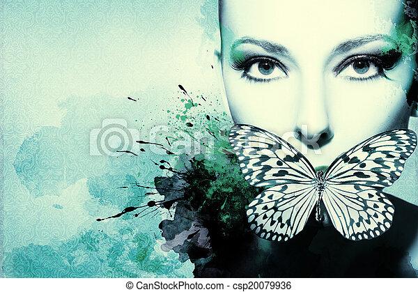 nő, tinta, artwork, gyönyörű - csp20079936