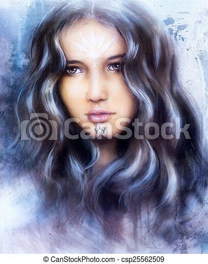 Gyönyörű, arcszín. Gyönyörű szem, barna nő, hibátlan, bámulatos, bőr. | CanStock