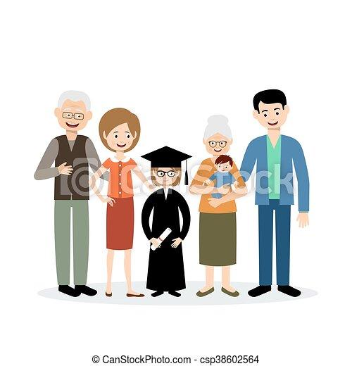 nagy, gyermek, család, diplomás - csp38602564
