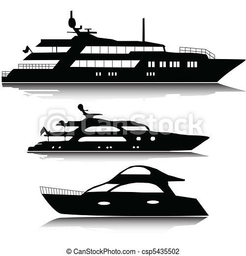 nagy, körvonal, vektor, jacht - csp5435502