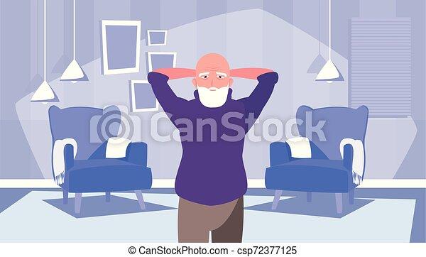 nagyszülők, boldog, tervezés, nap, lakás - csp72377125