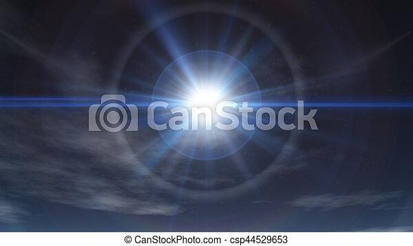 nap, tiszta égbolt, fénysugár - csp44529653