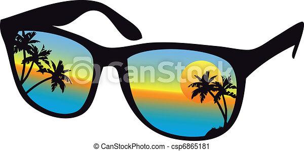 napnyugta, napszemüveg, tenger - csp6865181