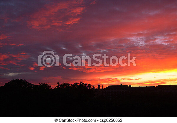 napnyugta, város, felül - csp0250052