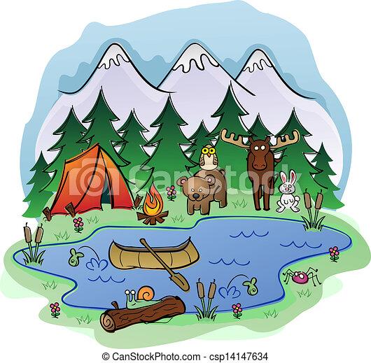 nyár, állat, kempingezés, frien - csp14147634
