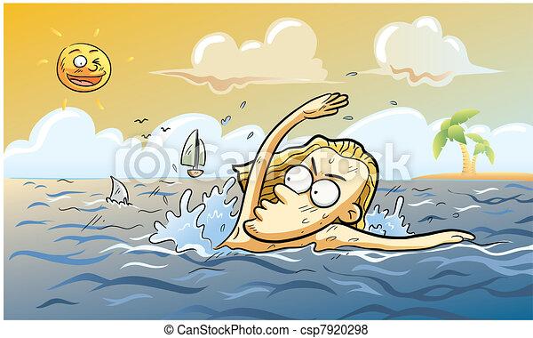 nyár, cápa, támad - csp7920298