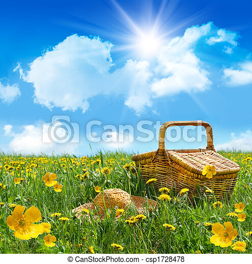 nyár, piknik, szalmaszál, mező, kosár, kalap - csp1728478