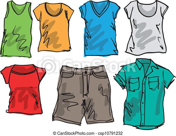 nyár, skicc, collection., ábra, vektor, öltözet - csp10791232