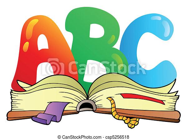 nyílik, ábécé, irodalomtudomány, könyv, karikatúra - csp5256518