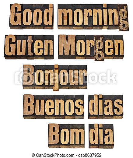 nyelvek, jó, öt, reggel - csp8637952