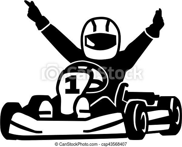 nyerő, kart, versenyfutó - csp43568407