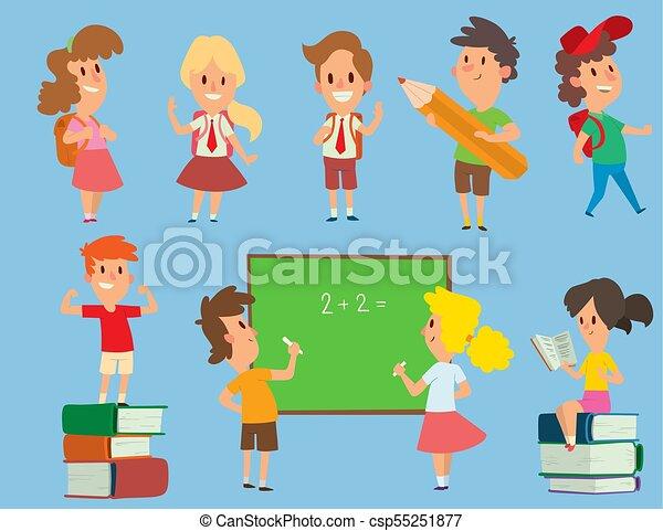 osztályterem, iskola ugrat, elemi, illustration., schoolkids, tanul, betű, fiatal, hát, vektor, oktatás, gyermekkor, preschool, boldog - csp55251877