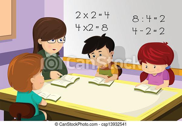 osztályterem, tanár, diák - csp13932541