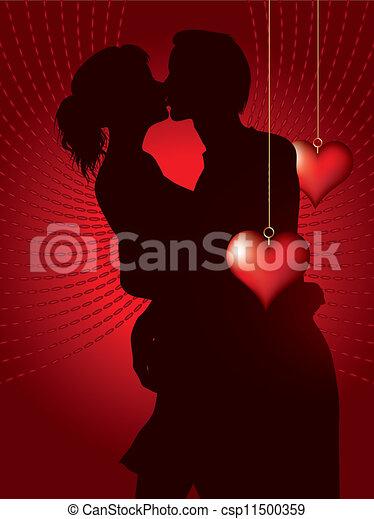 párosít, bsilhouette, csókolózás - csp11500359