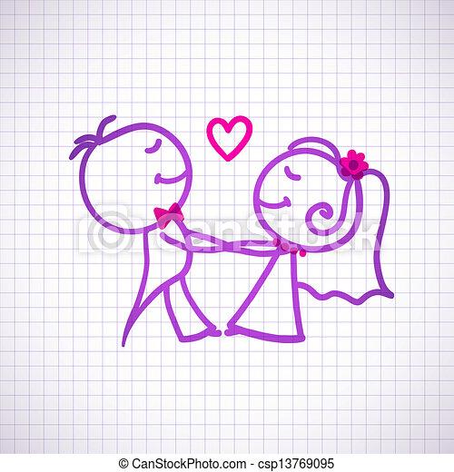 párosít, esküvő - csp13769095